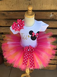 Minnie Mouse Birthday Tutu Outfit Set Dress Shirt Second Birthday Pink and Gold