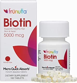 Frunutta Biotin Under The Tongue Instant Dissolve Tablets - 5000 mcg x 100 Tablets - Supports Healthy Hair, Skin, and Nail...