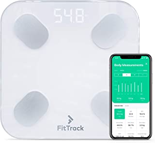 FitTrack Dara Smart BMI Digital Scale - Measure Weight and Body Fat - Most Accurate Bluetooth Glass Bathroom Scale