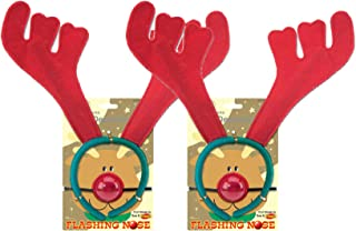 Nikki's Knick Knacks Christmas Reindeer Antlers and Flashing Rudolph Noses- Set of 2