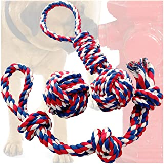 Otterly Pets Dog Toys (BIG SIZE 3-PACK) - 34-Inch 3-Knot, 13.5-Inch Handled Rope With Attached Ball, 4-Inch Ball - Tough D...