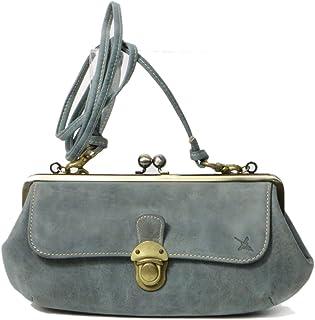 [アインソフ]がま口長財布 レディース 本革 がま口お財布バッグ(斜めがけストラップ付き)