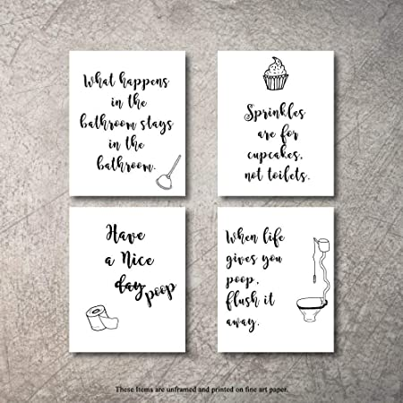 Amazon Com Bathroom Decor Wall Art 4 Prints Sprinkle While You Tinkle Signs Set Not Framed Funny Artwork Decoration Pictures For Bath Home Farmhouse Country Fun Rustic Bathrooms Quotes Decore Cute Decor