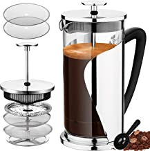 Bebeke French Press Coffee Maker - Multi Filtration System, Taste Adjustable, Grounds Free, Rust-Resistant & 20% Thicker H...
