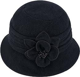 Chapeau forme cloche pour femme, en laine, souple,