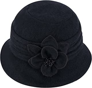 Womens Gatsby 1920s Winter Wool Cap Beret Beanie Cloche Bucket Hat A299