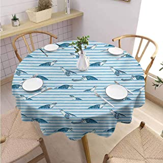 DILITECK Striped Kids Round Tablecloth Turtles and Blue Stripes Abstract Print Aquatic Theme Caretta Ocean Animals Pattern Table Decoration Diameter 63