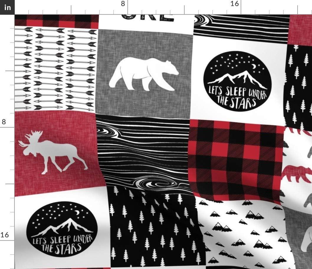 Spoonflower Fabric - Happy Camper Woodland Plaid Buffalo ストア 正規取扱店 Patchwo