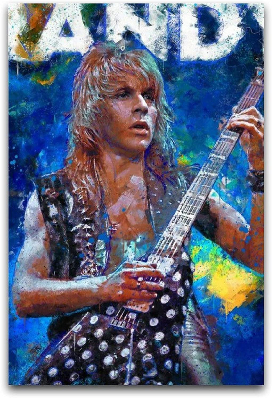 WPQL Randy Rhoads, músico y guitarrista, The First Personson to Rockbedroom póster de arte moderno decoración para el hogar hotel mural decorativo arte impresión clásico póster de 40 x 60 cm
