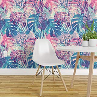 Spoonflower Peel and Stick Removable Wallpaper, Tropical Foliage Violet Vintage Jungle Blue Pink Nature Hawaiian Floral Summer Forest Emerald Print, Self-Adhesive Wallpaper 12in x 24in Test Swatch