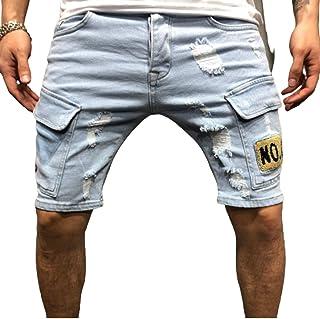 Pantalones Cortos de Mezclilla Rasgados para Hombre Impresión de Puntos de Pintura Personalizada Pantalones Multibolsillos...