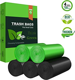 Trash Bags Biodegradable,4-6 Gallon Garbage bags Recycling Degradable small Garbage Bags Compostable Bags Leak Proof Rubbish Wastebasket Liners Bags for Office Home Waste Bin (100 Counts, Green+Black)