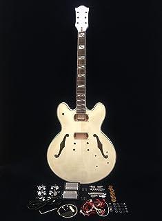 Complete No-Solder E-272DIY Semi-Hollow Body Electric Guitar DIY Kit, Set Neck