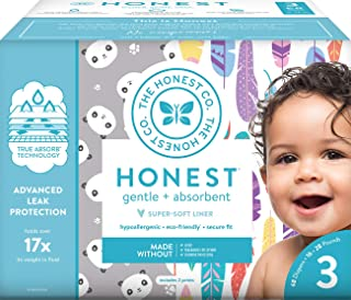 The Honest Company Club Box - Size 3 - Pandas & Painted Feathers Print with TrueAbsorb Technology   Plant-Derived Materials   Hypoallergenic   68 Count