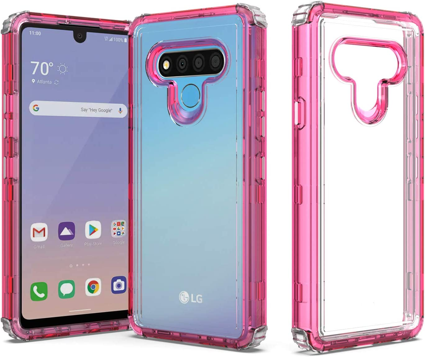 Shinewish Cell Phone Case for LG Stylo 6, 3 in 1 Heavy Duty Shockproof Bumper Full Edge Hybrid Colorful Cover, Hot Pink