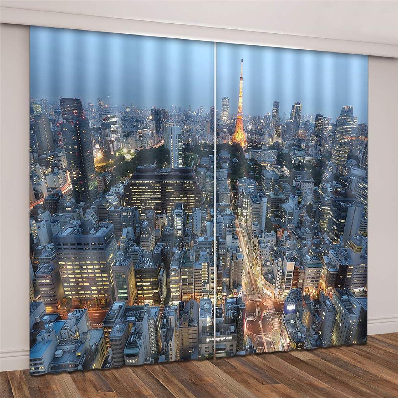 diseño simple y generoso LGXINGLIyidian Tela De Seda Negra negroout Curtain Curtain Curtain Modernos Rascacielos Urbaños De París Impresión 3D Cortinas De Ojales con Aislamiento Térmico 150 (H) X130Cm (W) X2  tienda de venta