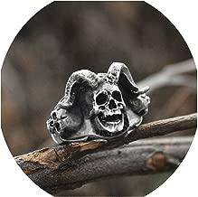 Men Vintage Cross Satanic Skull Rings Punk Gothic Devil Stainless Steel Ring Biker Jewelry,12