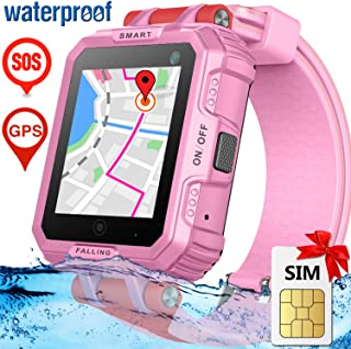 Kids Smart Watch phone with FREE SIM Card for Girls Boys, Waterproof GPS Tracker Digital Watch HD Full Touch Screen Game Watch with Anti-Lost Camera SOS Game Electronic Watches for Boys Girls Gift
