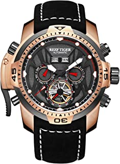 Reef Tiger Sport Luminous Watches Rose Gold Leather Strap Analog Automatic Men's Watch RGA3532