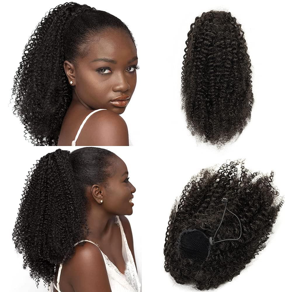 Anrosa Afro Kinky Ponytail Human Hair Natural Black Industry No. 1 1B Drawstrin Ranking TOP17