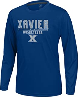NCAA Xavier Musketeers Boys Youth School Slogan Long Sleeve Callout Poly Tee, Navy, Small