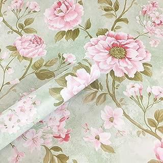 UPREDO Vintage Green Rose Wallpaper Peel Stick Shelf Liner Funitures Dresser Drawer Cabinet Adhesive Paper Decor 17.7 Inch by 100 Inch