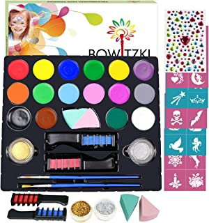 Bowitzki 16 Color Face Paint Kit for Kids Adults with 30 Stencils 2 Glitter 2 Brushes 2 Hair Chalk 2 Sponges Face Painting Set Non Toxic Water Based Professional Halloween Makeup Body Paint