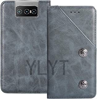 YLYT Business Shock - Blue Flip Leather TPU Silicone Retro Cover with Stand Wallet Case For Asus Zenfone 7 Pro ZS671KS 6.6...
