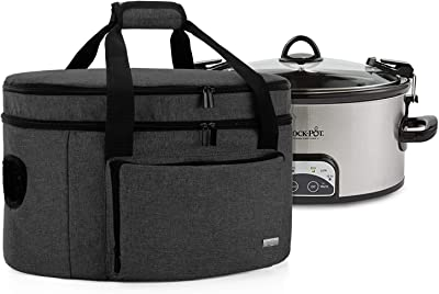 Luxja Double Layers Slow Cooker Bag (with a Bottom Pad) and Lid Fasten Straps, Insulated Slow Cooker Carrier Fits for Most 6-8 Quart Oval Slow Cooker, Black