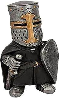 Knight Gnomes Guard, Cross Templar Crusader Figurine Tall Suit of Armor Miniature European Knights Sculpture Decor, Gothi...