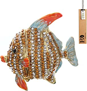 Hyaline&Dora Tropical Fish Trinket Box Hinged Small Jewelry Ring Holder Bejeweled Figurine Collectible Decoration Gift