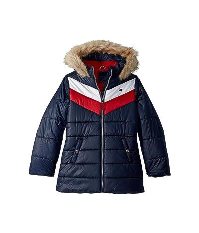 Tommy Hilfiger Kids Long Length Quilted Chevron Color Block Puffer Jacket (Big Kids) (Swim Navy) Girl