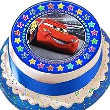 Cannellio Cakes Cars Lightening Blue Star Border Birthday Precut Edible Icing Cake Topper Decoration
