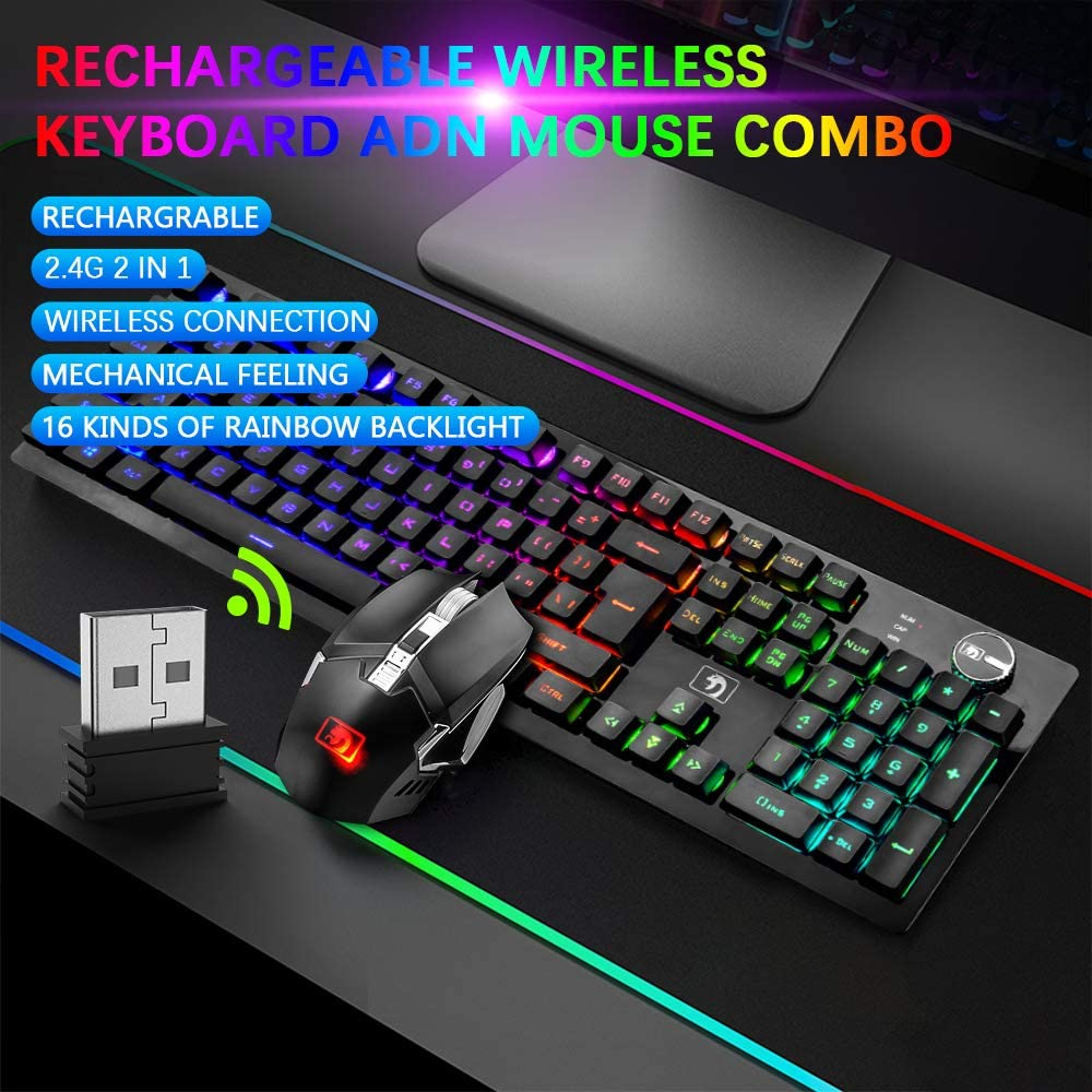 Rechargeable Gaming Wireless Keyboard and Mouse Combo Rainbow RGB LED Backlit Suspended Keycap Mechanical Feel 4800mAh Large Capacity Lithium Battery for Mac PC Laptop Computer Game Work Office