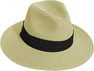 Sun Straw Fedora Beach Hat Wide Brim Panama Hat for Both Women and Men UPF50+