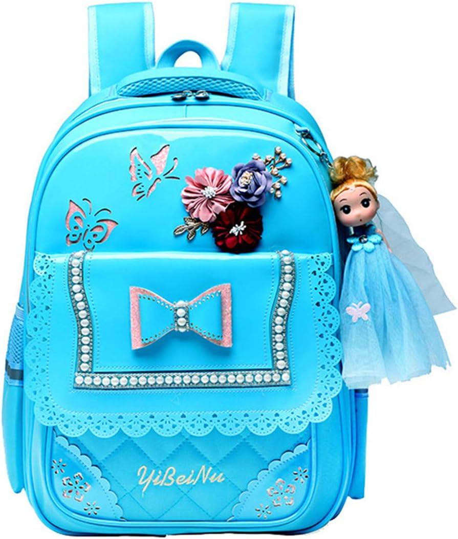 MITOWERMI 2Pcs Set Bowknot Elementary School bags Girls Princess Backpack Bookbag with Handbag Cartoon girl Doll Pendant