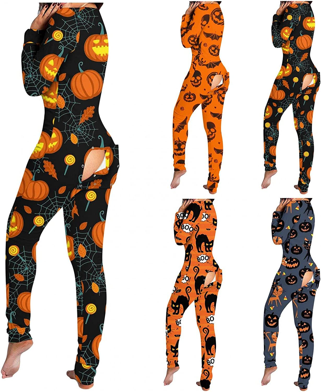 Lingbing Halloween Jumpsuits for Women, Skull Pumpkin Print Bodycon Bodysuits V Neck Long Sleeve Pajamas with Butt Flap