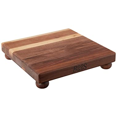 John Boos Block WAL-B12S Walnut Wood Edge Grain Cutting Board with Feet, 12 Inches Square, 1.5 Inches Thick
