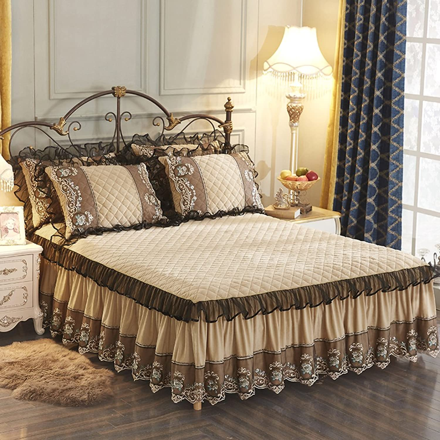 European Lace Bed Skirt,Warm Non-Slip Bed Skirt Thick Quilted Bed Cover Single Piece 2.0m1.8m Wrinkle and Fade Resistant Bed Cover-D 180x220cm(71x87inch)