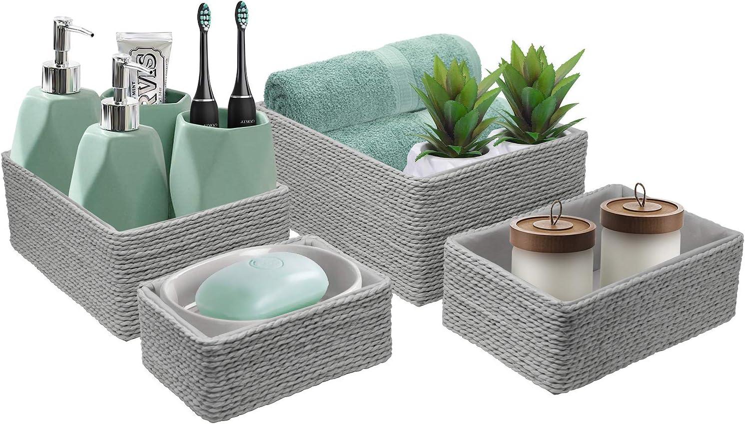 Sorbus Storage Baskets 4-Piece Set Closet Gray Stackable Woven Basket Paper Rope Bin Boxes for Makeup Office Supplies Bathroom Bedroom