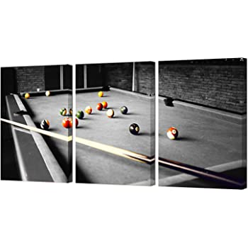 """HOMEOART Pool Room Wall Decor Billiards Pictures Black and White Canvas Wall Art Snooker Shooting Pool Painting Boys Room Club Decor Sports Themed Artwork Framed Prints 16""""X24""""X3 Pieces"""
