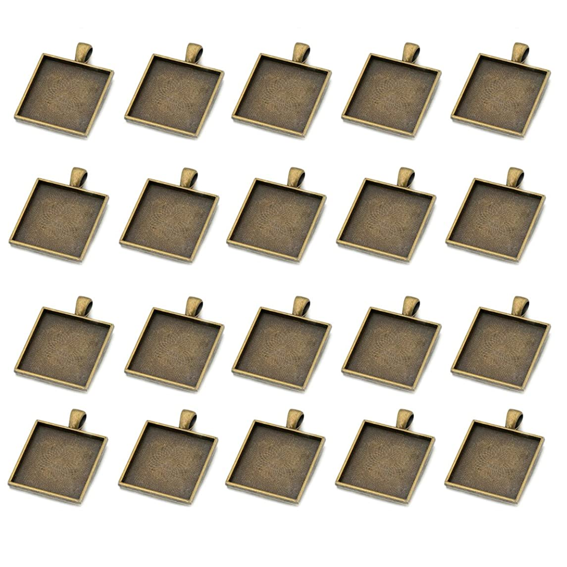 IGOGO 20 PCS Square Pendant Trays Pendant Blanks Cameo Bezel Cabochon Settings 25x25 mm Antique Bronze Color