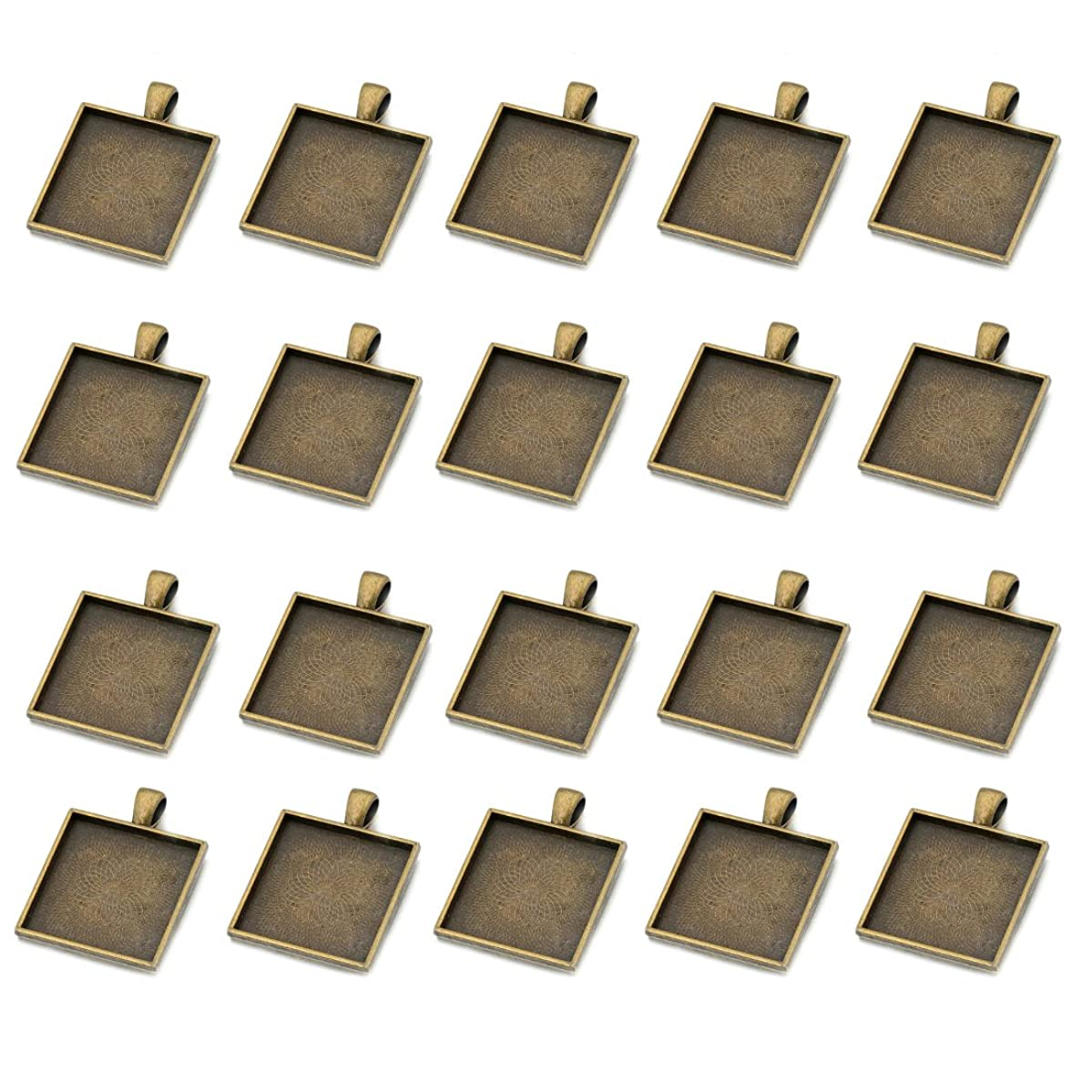 IGOGO 20 PCS Square Pendant Trays Pendant Blanks Cameo Bezel Cabochon Settings 25x25 mm Antique Bronze Color