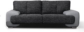 MEUBLO Canapé Fixe 3 Places Tissu et Simili Cuir 230 x 100 x 90 cm Bureau LORENTO (Gris)