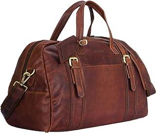"""STILORD Georgia"""" Große Reisetasche Vintage Leder mit Tragegriff und Schultergurt Reisegepäck Handgepäck in Kabinengröße aus echtem Büffel Leder, Farbe:Cognac - Dunkelbraun"""
