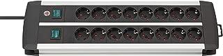 Brennenstuhl Premium-Alu-Line Regleta enchufes con 16 tomas de corriente y 2 interruptores individuales iluminados (cable de 3 m, protección infantil), Plateado/Negro
