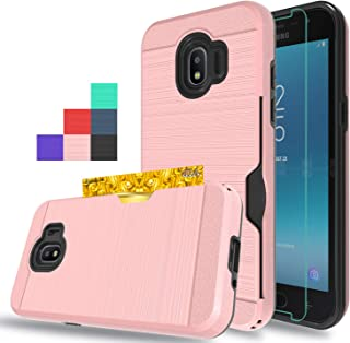 Wtiaw for:Galaxy J2 Pro 2018 Case,Galaxy J2 2018 Case,Galaxy Grand Prime Pro Case with HD Screen Protector,[1 Card Slots Holder] Hybrid Dual Layer Defender Case for Galaxy J2 Pro 2018-CK Rose Gold