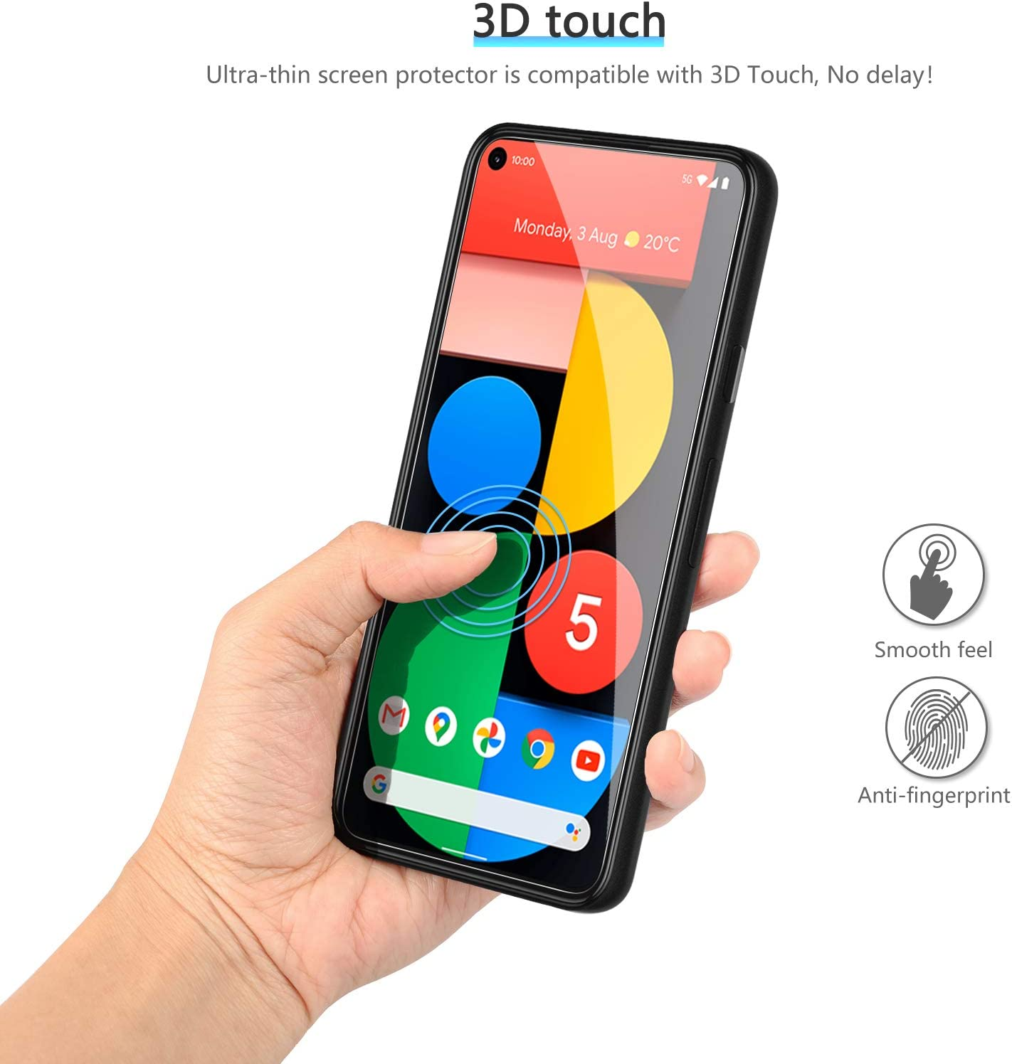 OMOTON [4-Pack] Screen Protector for Google Pixel 5 - Tempered Glass, Bubble Free, Scratch Resistant, Quick Response, 2.5D Round Ege, NOT Full Coverage