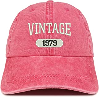 Trendy Apparel Shop Vintage 1979 Embroidered 40th Birthday Soft Crown Washed Cotton Cap