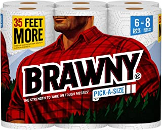 Brawny Paper Towels, 6 Large Rolls, Pick-A-Size, 80 Sheets Per Roll